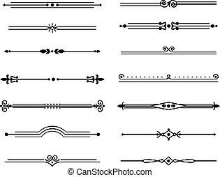 ouderwetse , stijl, text., frame, decoratief, lijn, set, vector, klassiek, lijnen, kaarten, separator., grens, geometrisch, retro, black , versieringen, groet, dividers, zich verbeelden, elegant, vrijstaand, affiches