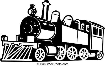 ouderwetse , trein, black , gedaan, witte , stoom
