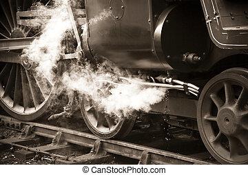ouderwetse , trein, stoom