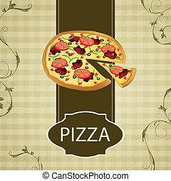 ouderwetse , vector, pizza, kaart, menu