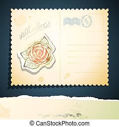 ouderwetse , vector, postkaart