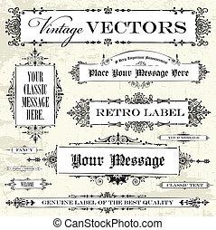 ouderwetse , vector, set, etiket