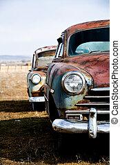 ouderwetse , versie, verticaal, auto's