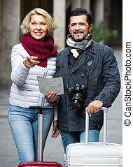 outdoor., volwassen paar, toeristen