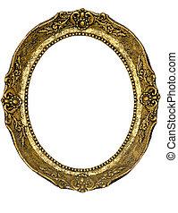 ovaal, gouden, frame