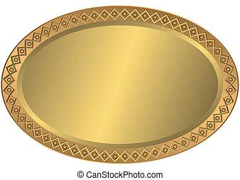 ovaal, gouden, metaal, brons, schaaltje