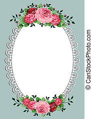 ovaal, ouderwetse , frame, rozen