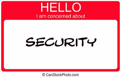 over, naam, betrokken, label, veiligheid, hallo, rood