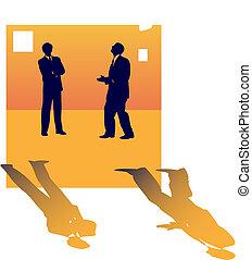 over, zakenlui, twee, klesten, werk, lose., silhouettes