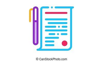overeenkomst, pen, pictogram, animatie