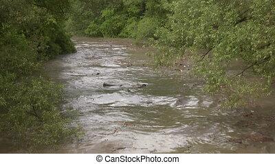 overstroomde, shots., river., twee