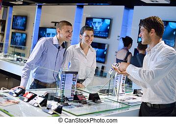 paar, consument, jonge, winkel, elektronica