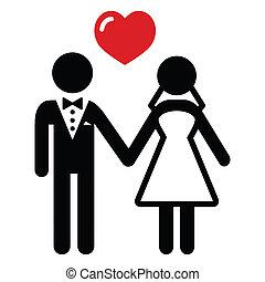 paar, getrouwd, trouwfeest, pictogram