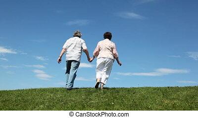 paar, hand, door, heuvel, middelbare leeftijd , handen, bladeren