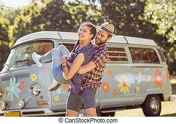 paar, hebben, hipster, samen, plezier