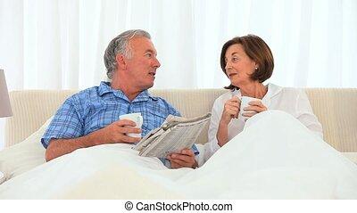 paar, hebben, kop, bejaarden, thee