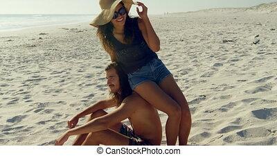 paar, hebben, strand, plezier, 4k