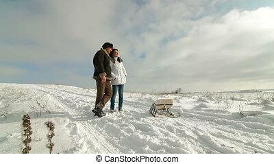 paar, het genieten van, winter, volwassene