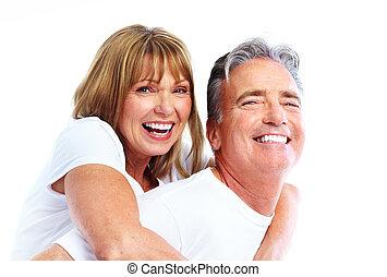 paar, het glimlachen, senior