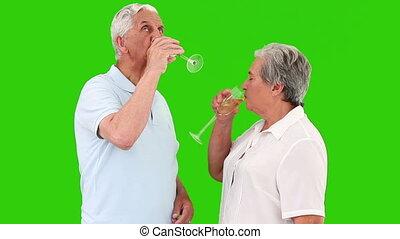 paar, iets, champagne, gepensioneerd, vieren