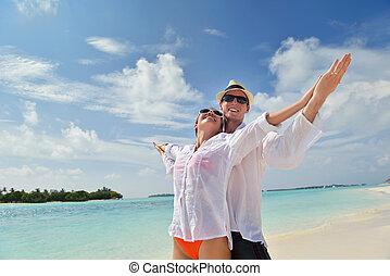 paar, jonge, hebben vermaak, strand, vrolijke