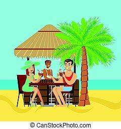 paar, koffiehuis, strand, jonge, zittende