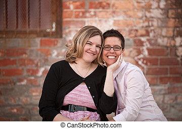 paar, lesbische , buitenshuis