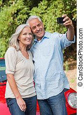 paar, middelbare leeftijd , afbeeldingen, het glimlachen, boeiend, zich
