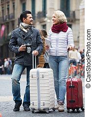 paar, middelbare leeftijd , outdoor., toeristen