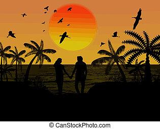 paar, minnaars, silhouette