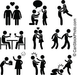 paar, omhelzing, liefde, voorstel, minnaar