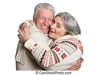 paar, op, middelbare leeftijd , afsluiten, verticaal, het glimlachen
