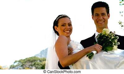 paar, park, newlywed, vrolijke