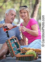 paar, picknick, hebben, middelbare leeftijd
