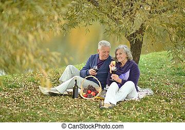 paar, picknick, hebben, middelbare leeftijd , vrolijke