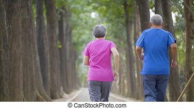 paar, rennende , park, senior, vrolijke
