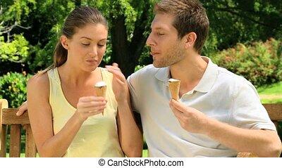paar, romen, ijs, schattig, eten