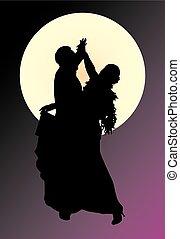 paar, silhouette, dancing