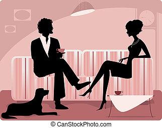 paar, silhouette