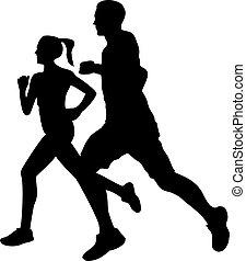 paar, silhouette, jogging