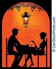 paar, silhouette, restauran