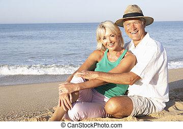 paar, strand, senior, relaxen, zittende