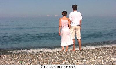 paar, strand, stalletjes, zee, blik