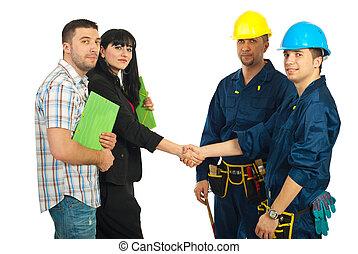 paar, team, werkmannen , overeenkomst