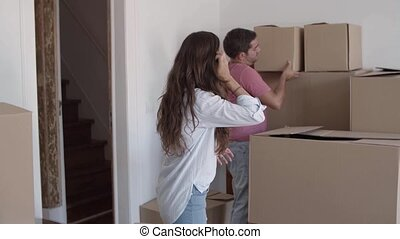paar, verhuisdozen, samen, karton, kaukasisch