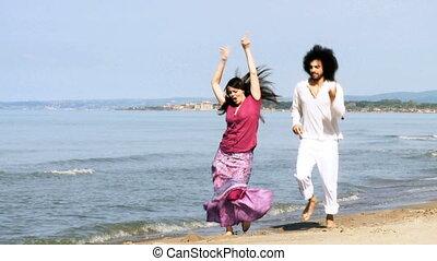 paar, vrolijke , liefde, zee, dancing