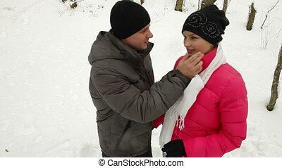 paar, vrolijke , winter, jonge