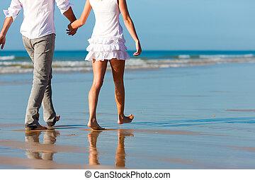 paar, wandeling, hebben, vakantie