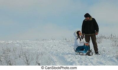 paar, winter, het genieten van