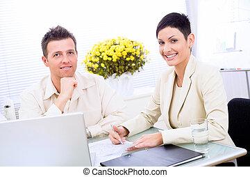 paar, zakelijk, werkende